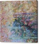 Birds Boaters And Bridges Of Barton Springs - Autumn Colors Pedestrian Bridge Canvas Print
