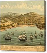 Birds Eye View Map Of San Francisco 1846 Canvas Print