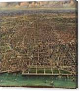 Birds Eye View Of Chicago 1916 Canvas Print