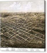 Birds Eye View Of The City Of Coldwater, Michigan - 1868 Canvas Print