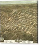 Bird's Eye View Of The City Of Raleigh, North Carolina 1872 Canvas Print