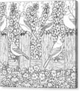 Birds In Flower Garden Coloring Page Canvas Print
