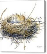 Bird's Nest Watercolor Painting Canvas Print
