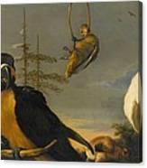 Birds On A Balustrade, Melchior D'hondecoeter, C. 1680 - C. 1690 Canvas Print