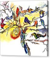 Birds On A Branch Canvas Print