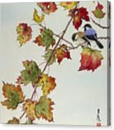 Birds On Maple Tree 4 Canvas Print