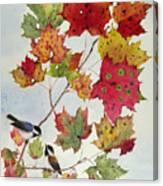 Birds On Maple Tree 6 Canvas Print