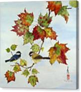 Birds On Maple Tree 9 Canvas Print