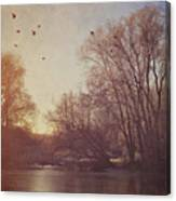Birds Take Flight Over Lake On A Winters Morning Canvas Print