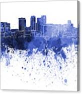 Birmingham Al Skyline In Blue Watercolor On White Background Canvas Print