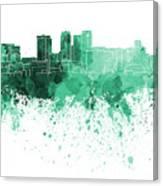 Birmingham Al Skyline In Green Watercolor On White Background Canvas Print