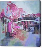 Birmingham Canal Watercolor Canvas Print