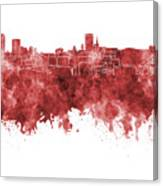 Birmingham Skyline In Red Watercolor On White Background Canvas Print