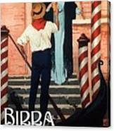 Birra San Marco, Venezia, Italy - Woman With Beer Glass - Retro Travel Poster - Vintage Poster Canvas Print