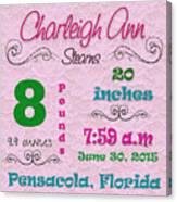 Birth Announcement Canvas Print