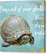 Birthday Card - Painted Turtle Canvas Print