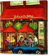 Bistro On Greene Avenue In Montreal Canvas Print