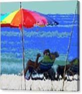 Bit Of Shade On The Beach Canvas Print