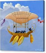 Bizarre Feline-powered Airship Canvas Print