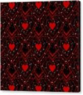 Black And Red Hearts Canvas Print