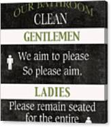 Black And White Bathroom Rules Canvas Print