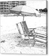 Black And White Beach Chairs Canvas Print