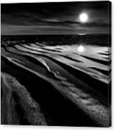 Black And White Beach - Low Tide Canvas Print