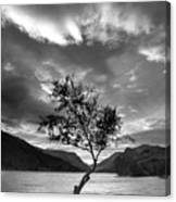 Black And White Beautiful Landscape Image Of Llyn Padarn At Sunr Canvas Print