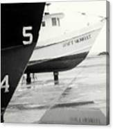 Black And White Boat Reflection Canvas Print