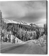 Black And White Bow Valley Parkway - Winter Canvas Print