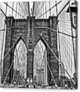Black And White Brooklyn Bridge Canvas Print