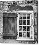 Black And White Cottage Window Canvas Print