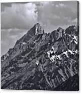 Black And White Grand Teton Detail Canvas Print