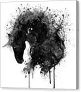 Black And White Horse Head Watercolor Silhouette Canvas Print
