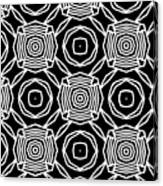 Black And White Modern Roses- Pattern Art By Linda Woods Canvas Print