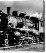 Black And White Of An Old Steam Engine  Canvas Print