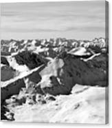 Black And White Of The Summit Of Mount Elbert Colorado In Winter Canvas Print