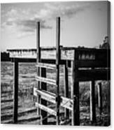 Black And White Old Time Dock Canvas Print