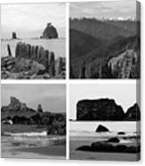 Black And White Olympic National Park Collage Canvas Print
