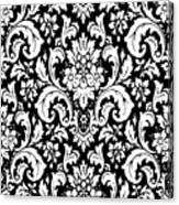 Black And White Paisley Pattern Vintage Canvas Print