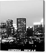 Black And White Panoramic View Of Downtown Austin Canvas Print