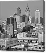 Black And White Philadelphia - Delaware River Canvas Print