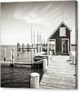 Black And White Photography - Martha's Vineyard - Black Dog Wharf Canvas Print