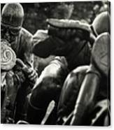Black And White Photography - Motorcyclists Canvas Print