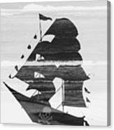 Black And White Pirate Ship Against The Sea And Crushing Waves. Double Exposure Canvas Print