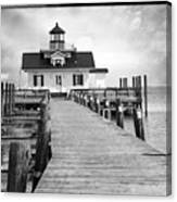 Black And White  Roanoke Lighthouse Canvas Print