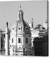 Black And White Rooftop In Rome Canvas Print