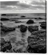 Black And White Sunset At Low Tide Canvas Print