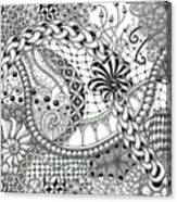 Black And White Tangle Art Canvas Print