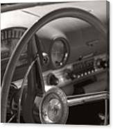 Black And White Thunderbird Steering Wheel  Canvas Print